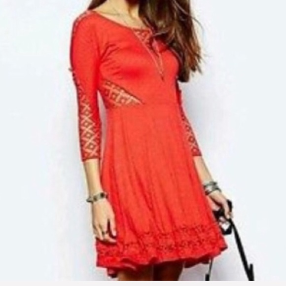 Free People Dresses & Skirts - Free People coral red crochet cutout dress XS